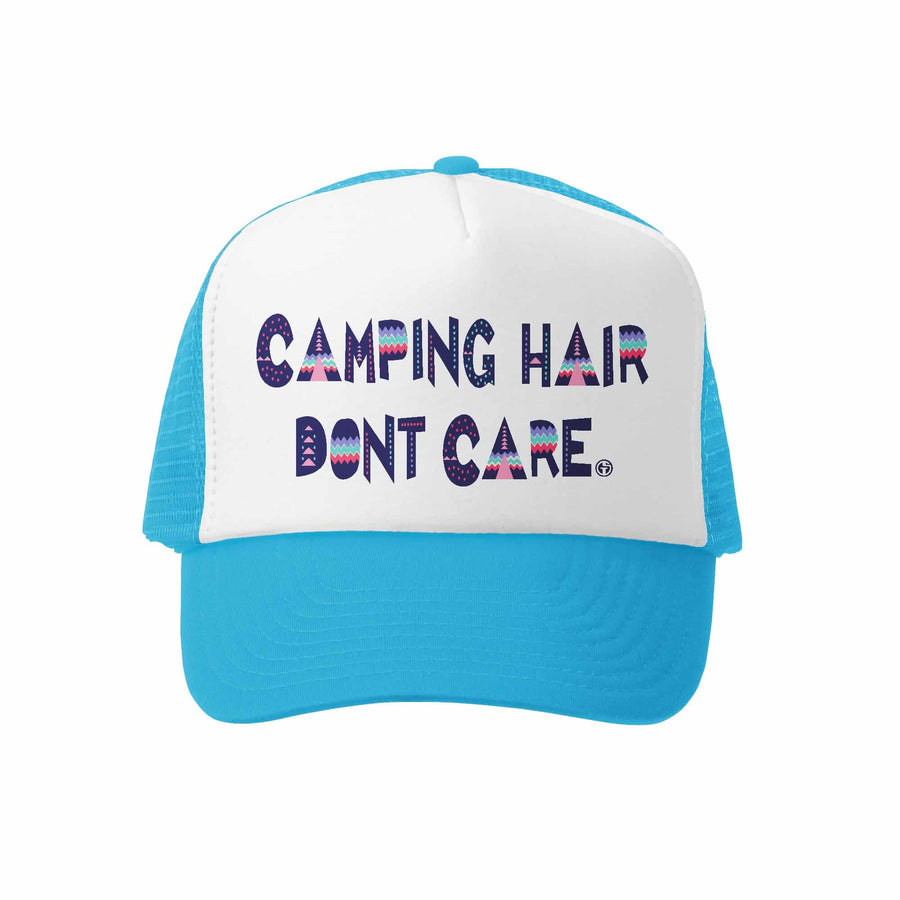 Kids Trucker Hat - Camping Hair in Aqua and White