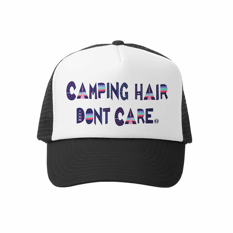 Kids Trucker Hat - Camping Hair in Black and White