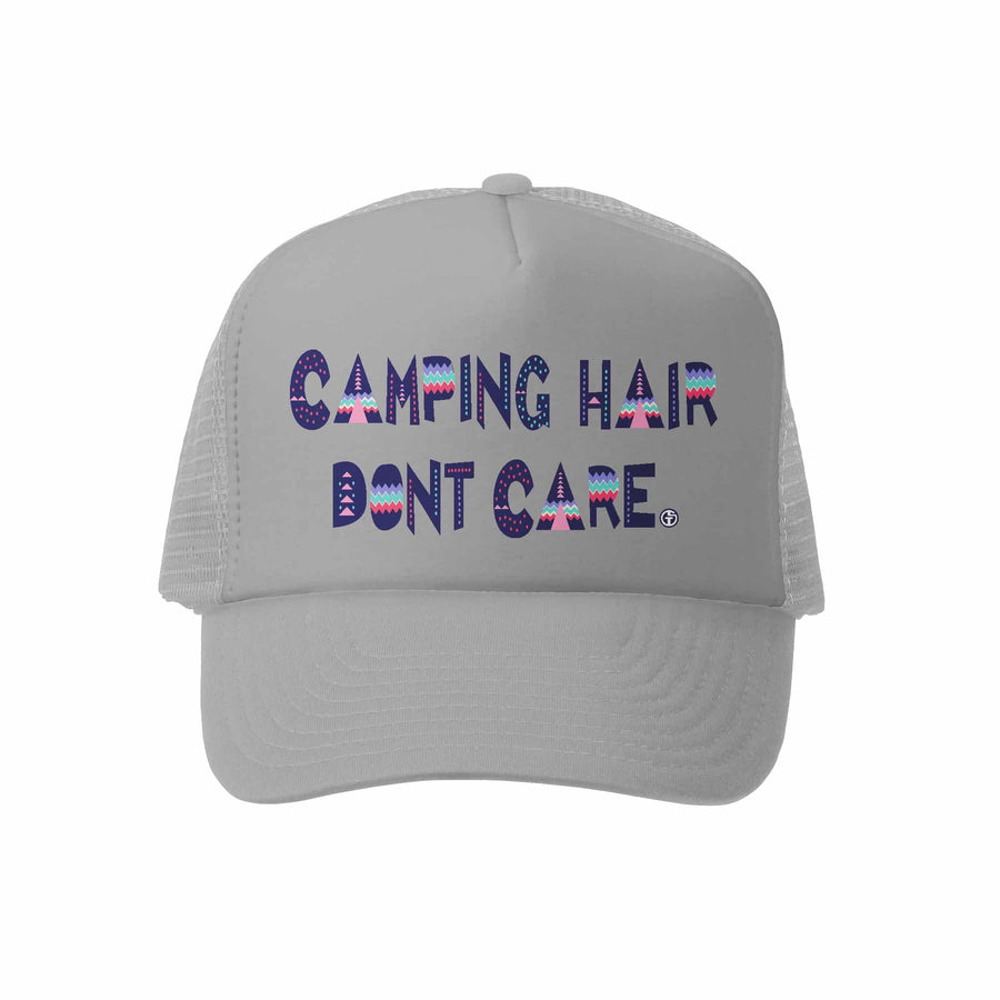 Kids Trucker Hat - Camping Hair in Grey