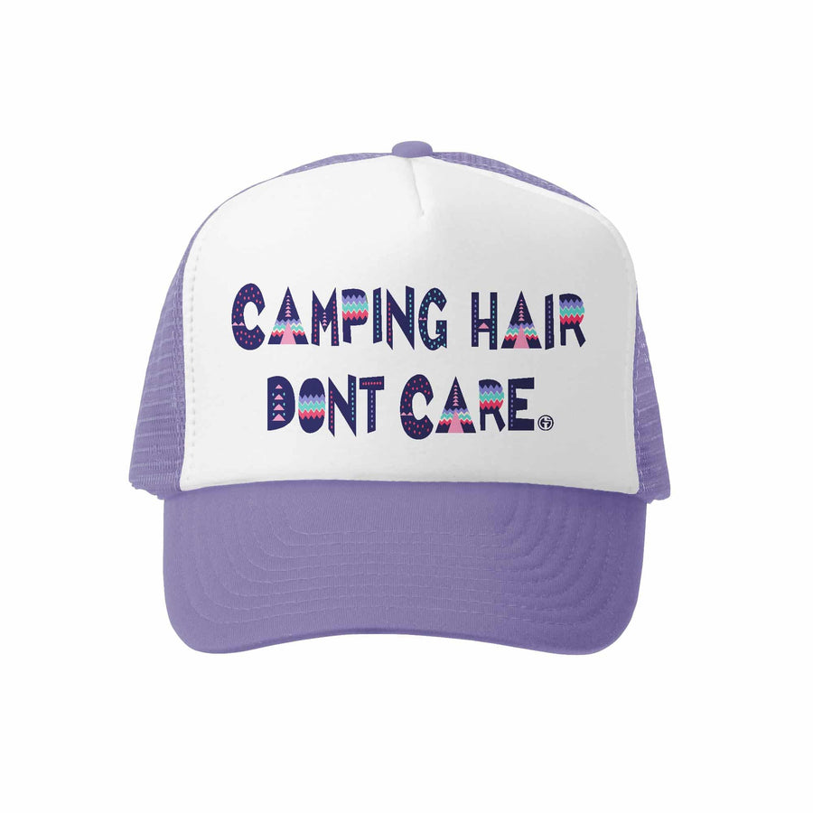 Kids Trucker Hat - Camping Hair in Lavender and White