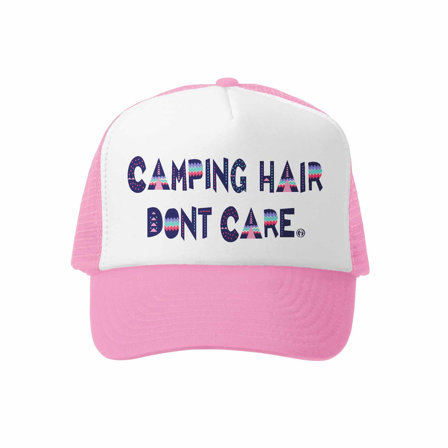 Kids Trucker Hat - Camping Hair in Pink and White