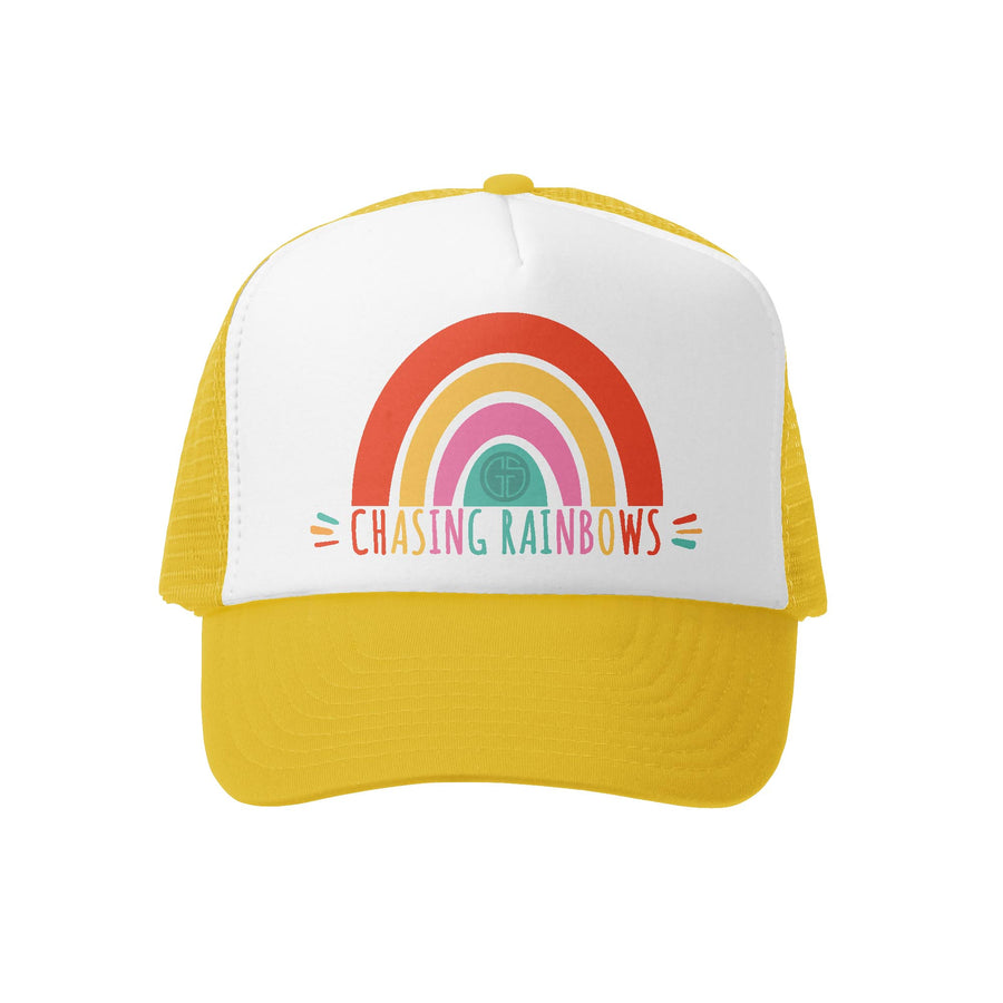 Grom Squad Kid's Trucker Hat - Yellow & White - Chasing Rainbows