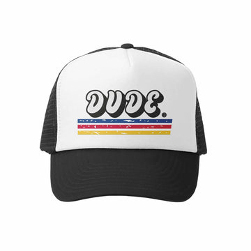 Kids Trucker Hat - Lil Dude in Black and White