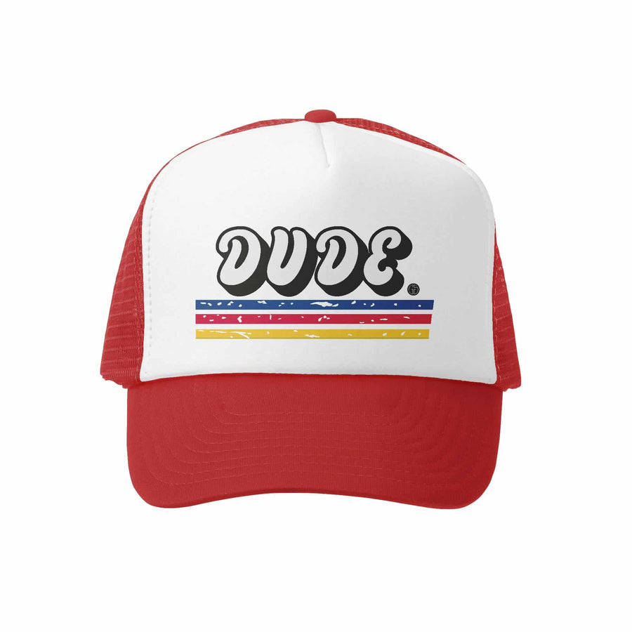 Kids Trucker Hat - Lil Dude in Red and White