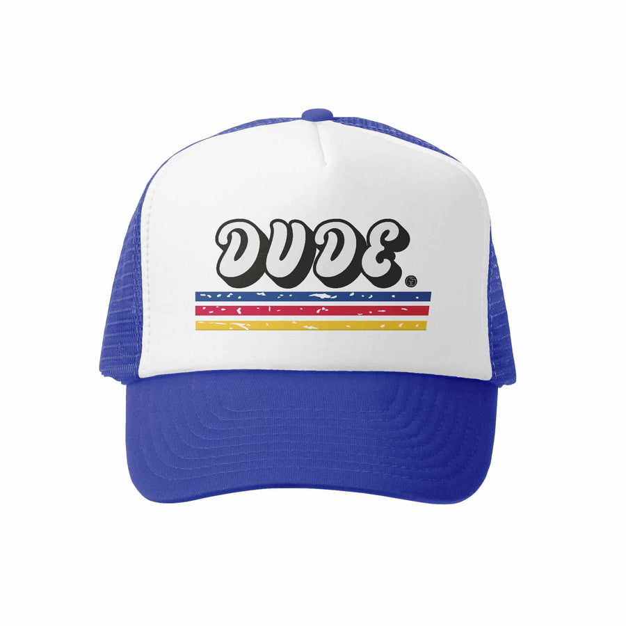 Kids Trucker Hat - Lil Dude in Royal and White