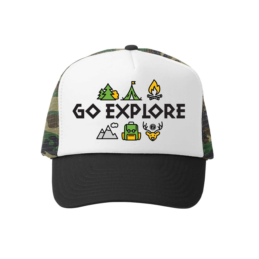 Kids Trucker Hat - Go Explore in Camo