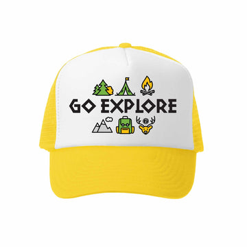 Kids Trucker Hat - Go Explore in Yellow
