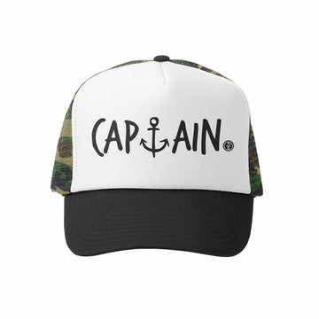 Kids Trucker Hat - Captain in Camo and White