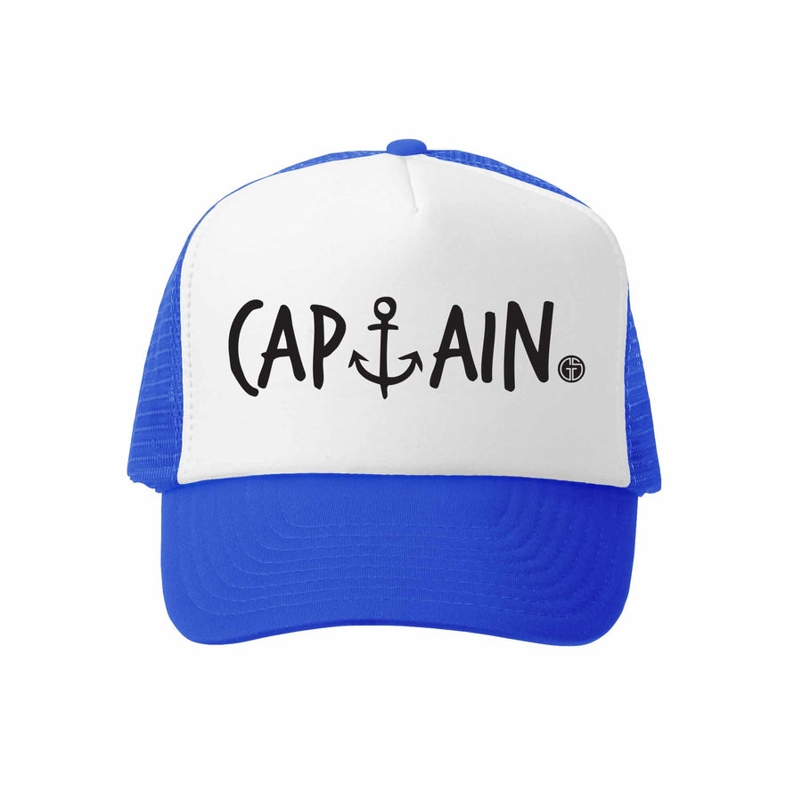 Kids Trucker Hat - Captain in Royal and White