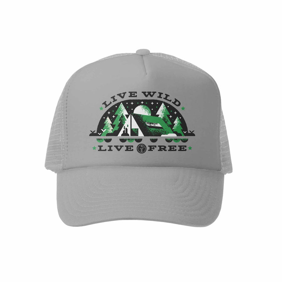 Kids Trucker Hat - Live Wild in Grey