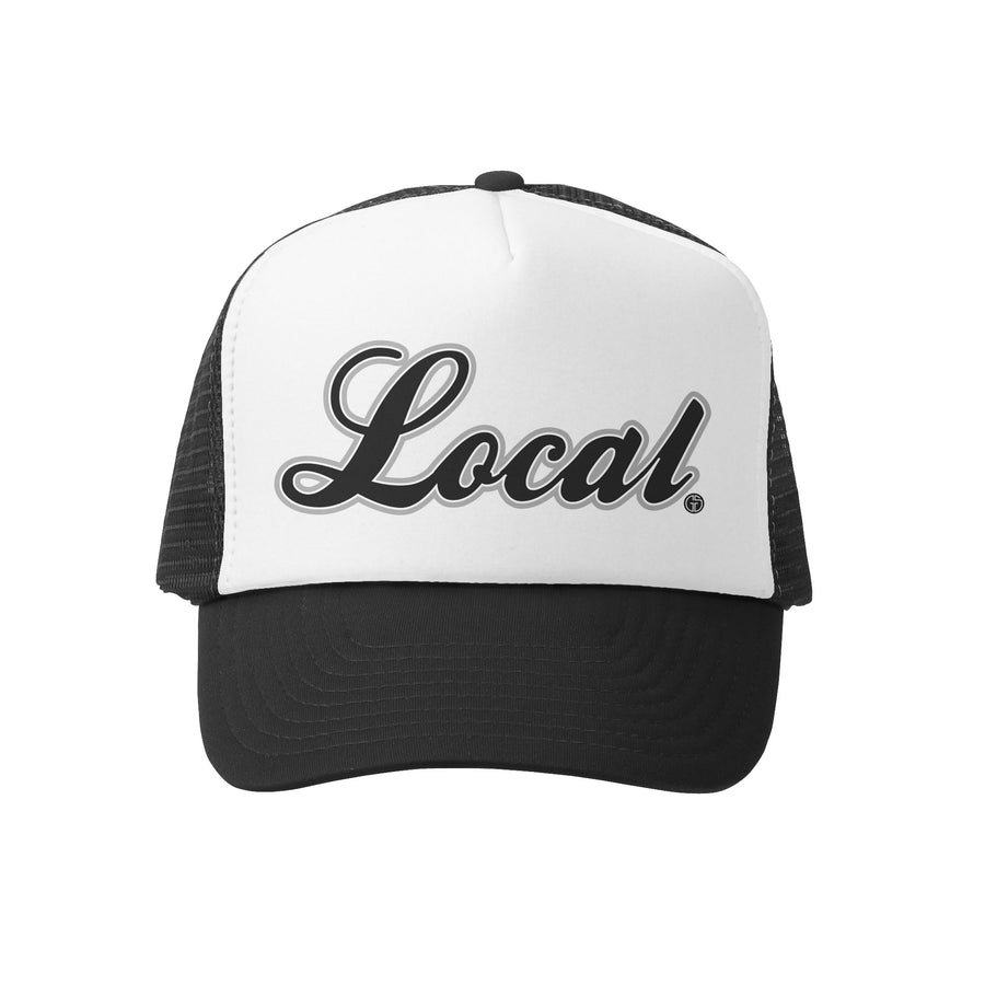 Grom Squad Kid's Trucker Hat - Black & White - Local