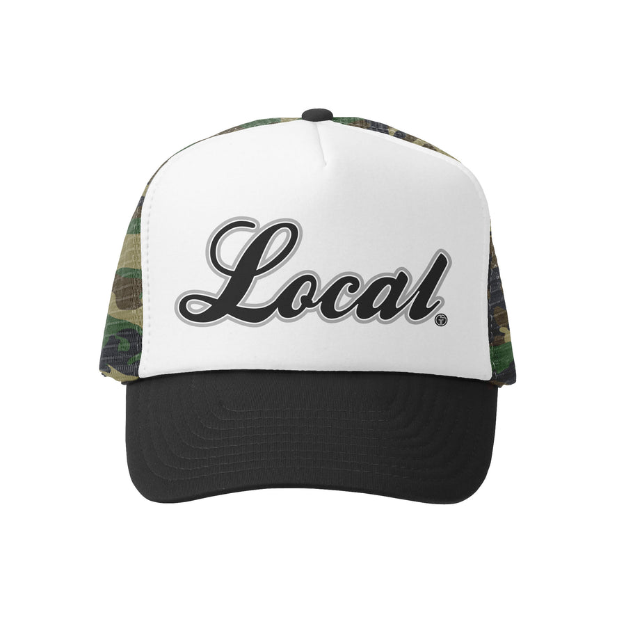 Grom Squad Kid's Trucker Hat - Camo & White - Local