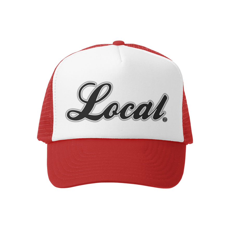 Grom Squad Kid's Trucker Hat - Red & White - Local
