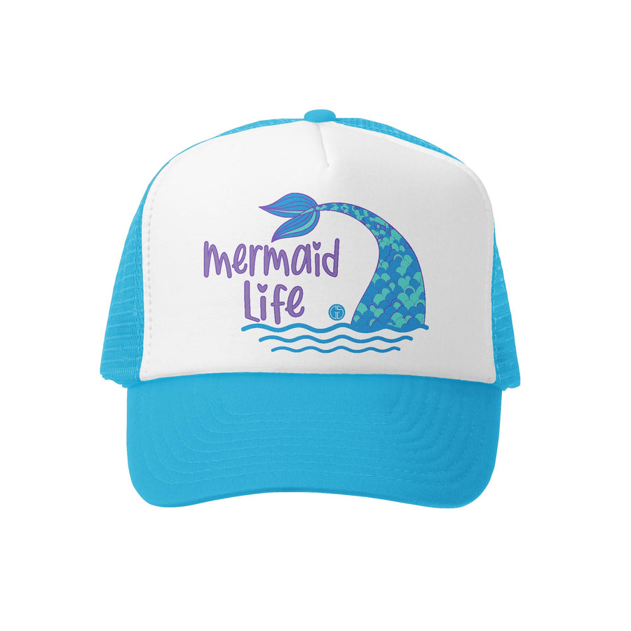 Grom Squad Kid's Trucker Hat - Aqua & White - Mermaid Life