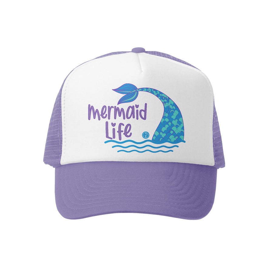 Grom Squad Kid's Trucker Hat - Lavender & White - Mermaid Life