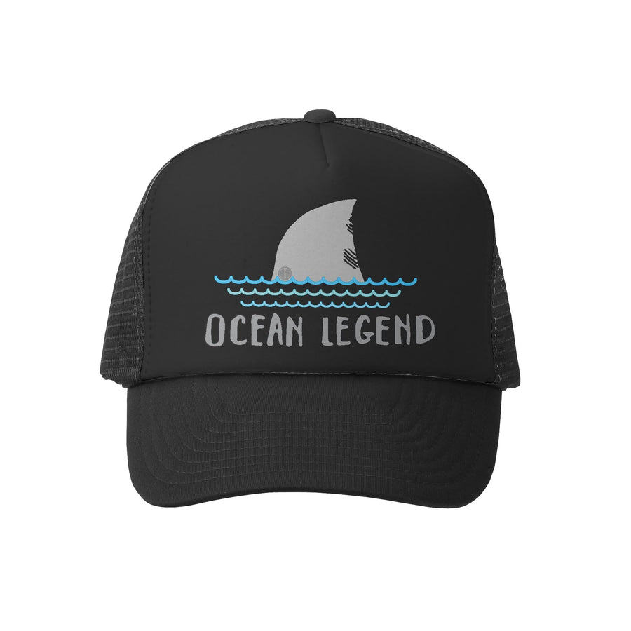 Grom Squad Kid's Trucker Hat - Black & Black - Ocean Legend