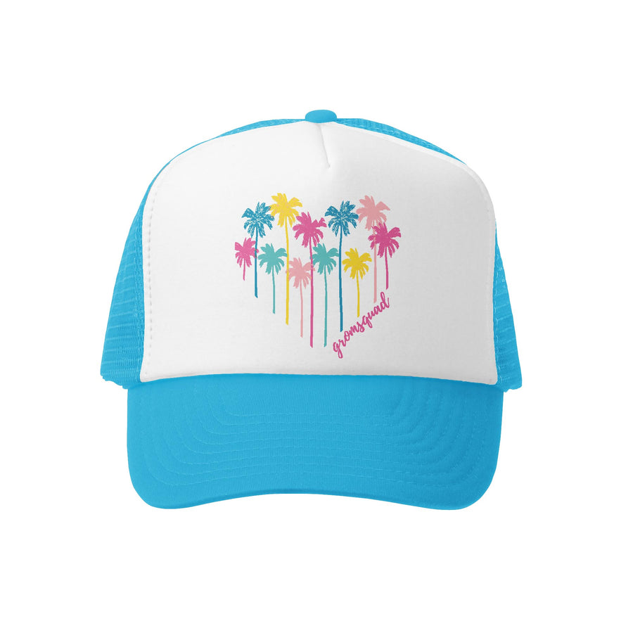 Grom Squad Kid's Trucker Hat - Aqua & White - Palm Heart