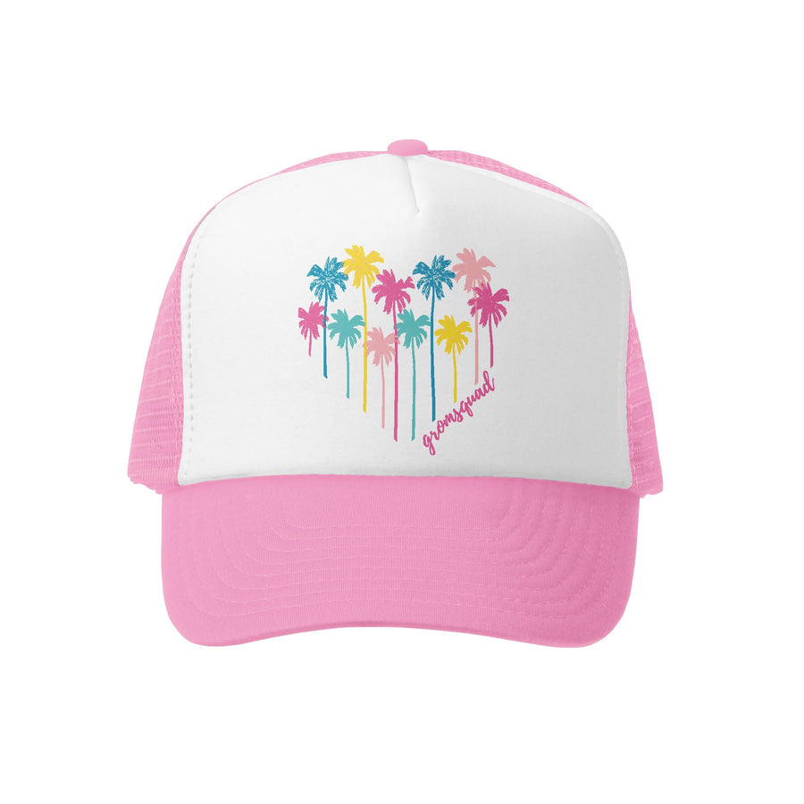 Grom Squad Kid's Trucker Hat - Pink & White - Palm Heart