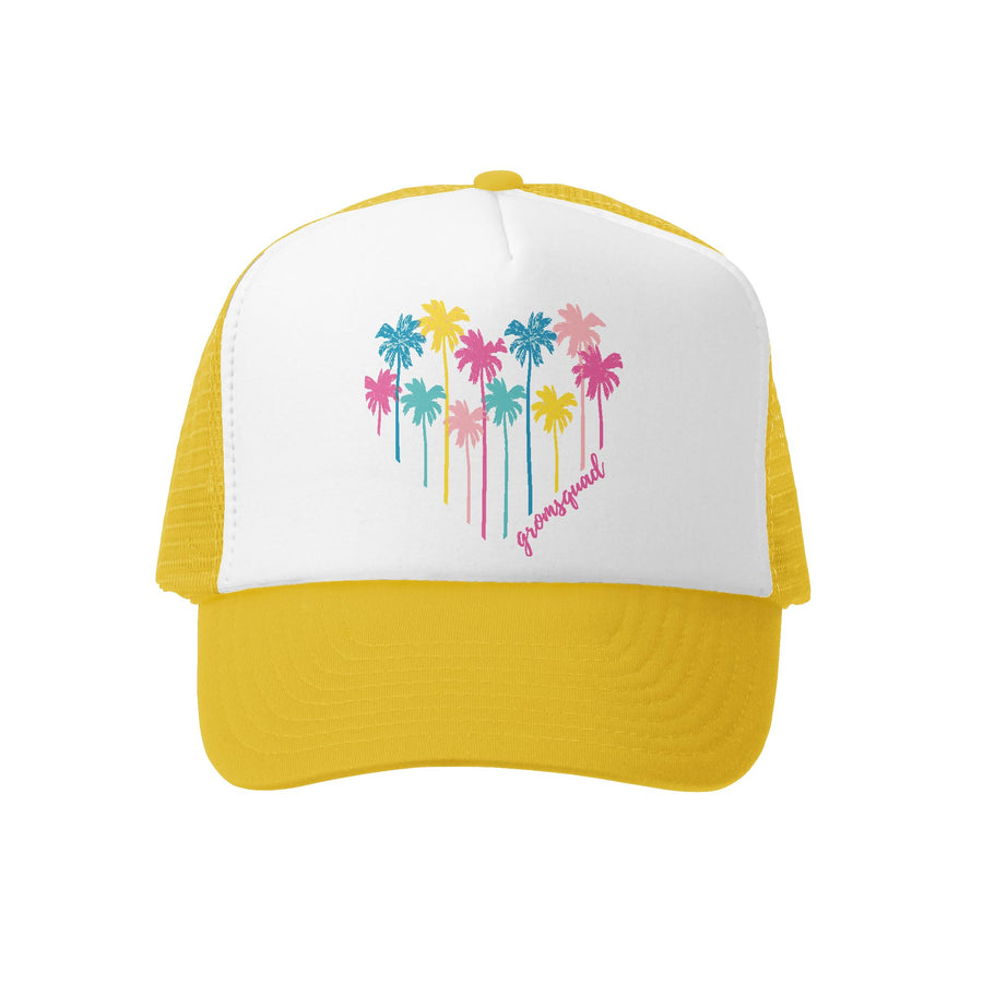 Grom Squad Kid's Trucker Hat - Yellow & White - Palm Heart