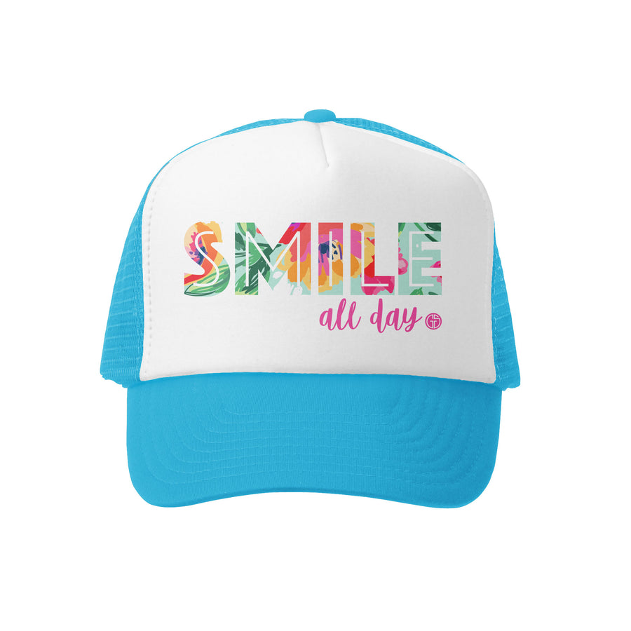 Grom Squad Kid's Trucker Hat - Aqua & White - Smile All Day