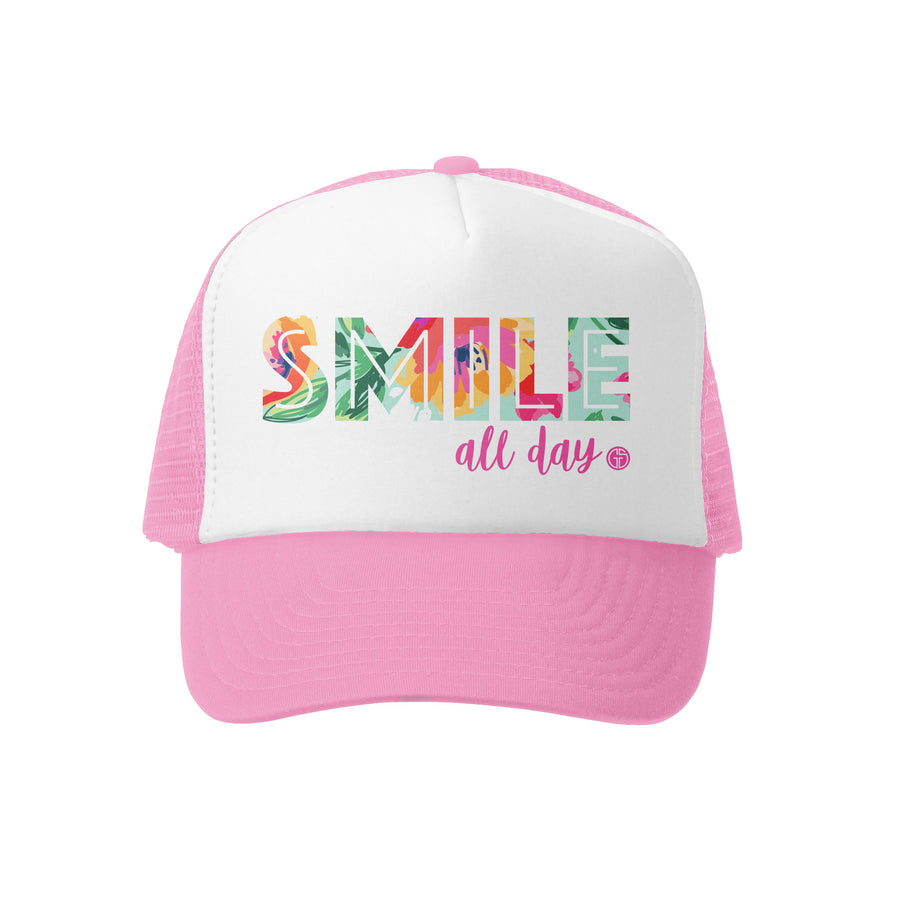 Grom Squad Kid's Trucker Hat - Pink & White - Smile All Day