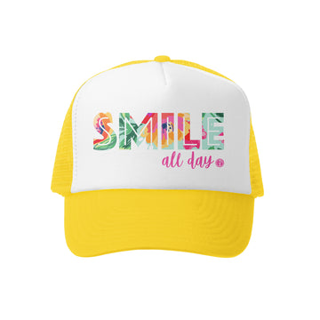 Grom Squad Kid's Trucker Hat - Yellow & White - Smile All Day