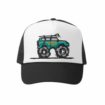 Kids Trucker Hat - Surfari in Black and White
