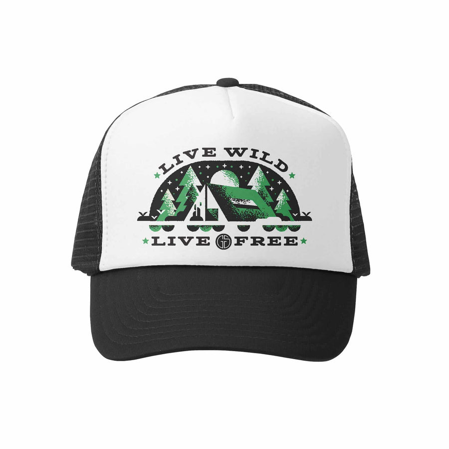 Kids Trucker Hat - Wild and Free in Black and White