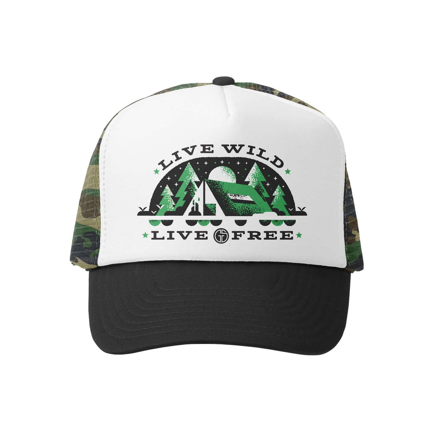 Kids Trucker Hat - Live Wild and Free in Black Camo and White