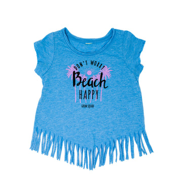 Grom Squad Don't Worry Beach Happy Kids Girls' Tank Top in Blue