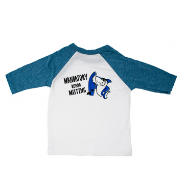 Grom Squad Mandatory Board Meeting Kids' Raglan T-Shirt in White and Blue