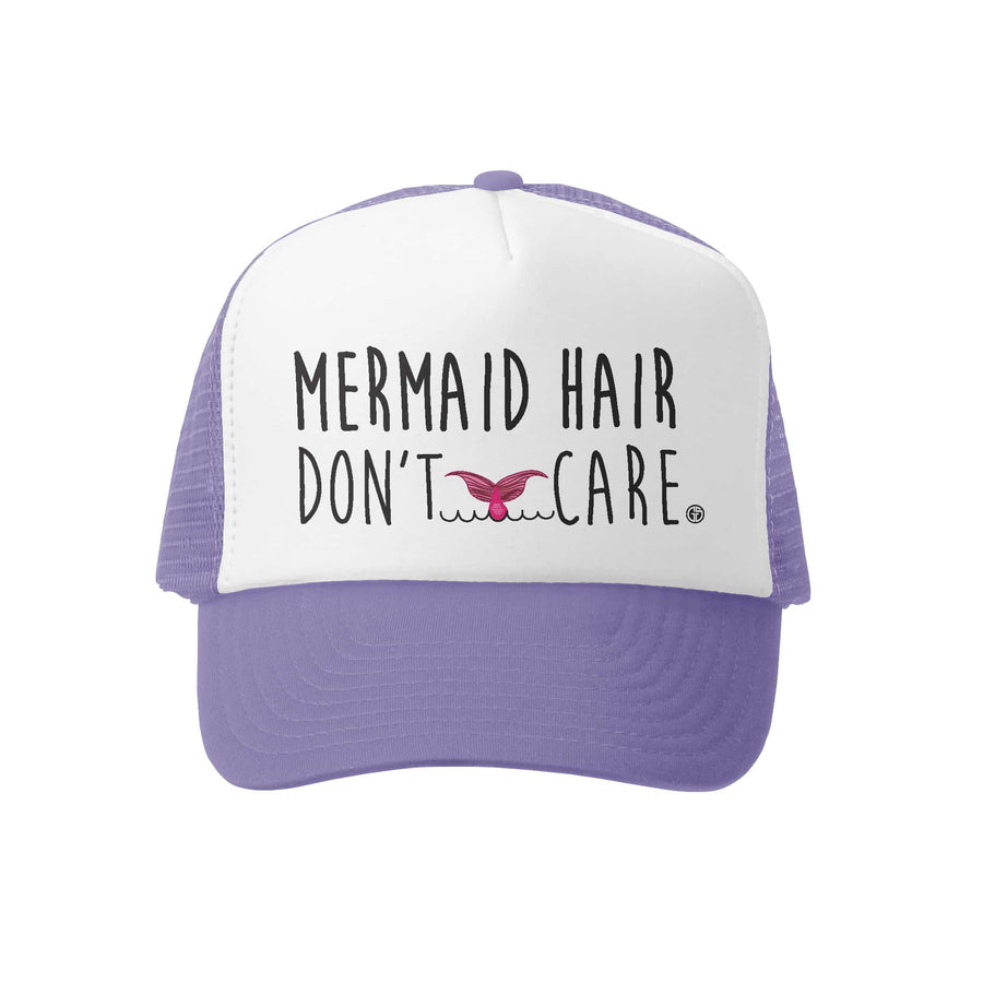 Kids Trucker Hat - Mermaid Hair in Lavender and White
