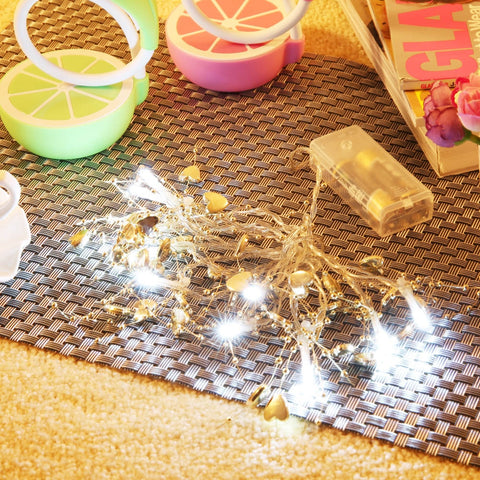10 LEDs Golden Heart String Light Battery Powered Lamp