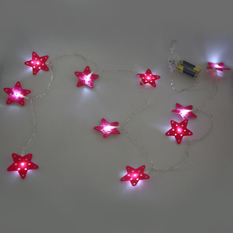 10 LEDs Star Shaped String Light Battery Powered Lamp
