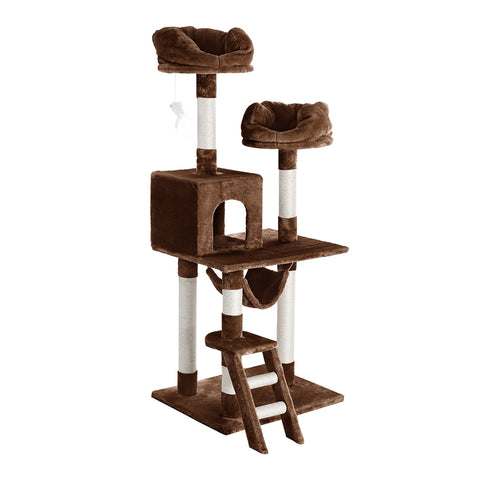 Finether 148 cm High 5-tier Cat Tree Tower Furniture Kitten Playhouse with Sisal Covered Scratching Posts, Perches, Platforms, Ladders and Hammock, Brown