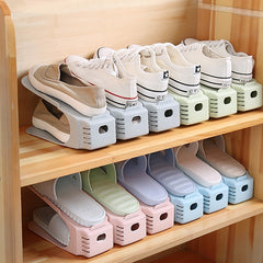 One-piece Shoe Rack Creative Double Thickening Space Plastic Shoes Storage Rack Shoe Cabinet Finishing Rack 6PCS