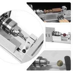 96W Mini Lathe Beads Machine Woodworking DIY Standard Set with Power Carving Cutter