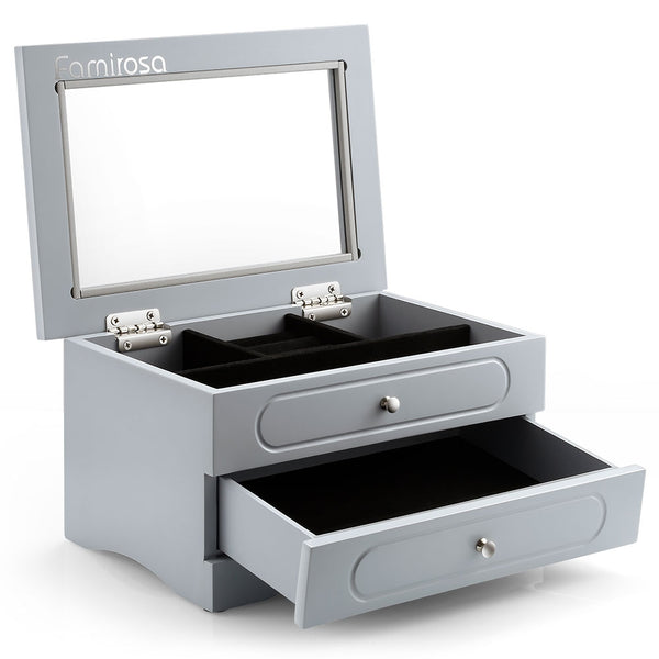 Famirosa 2-layer Jewelry Box Multiple Compartments Eco-friendly MDF Material Velvet Inner Liner Transparent Glass Cover