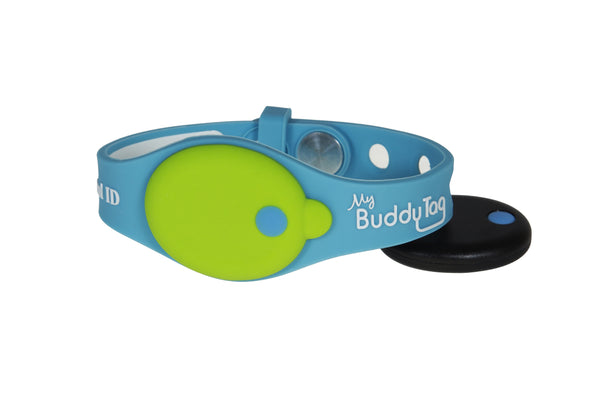 Buddy Tag with Blue/Green Silicone Wristband