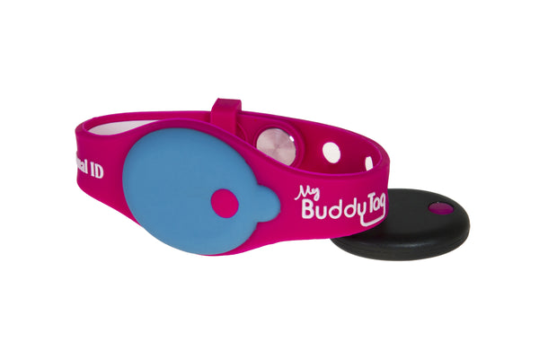 Buddy Tag with Pink Silicone Wristband
