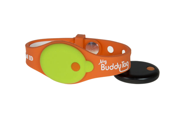 Buddy Tag with Orange/Green Silicone Wristband