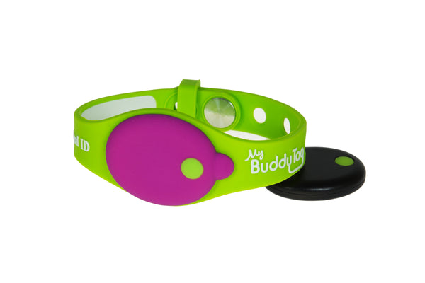 Buddy Tag with Green Silicone Wristband