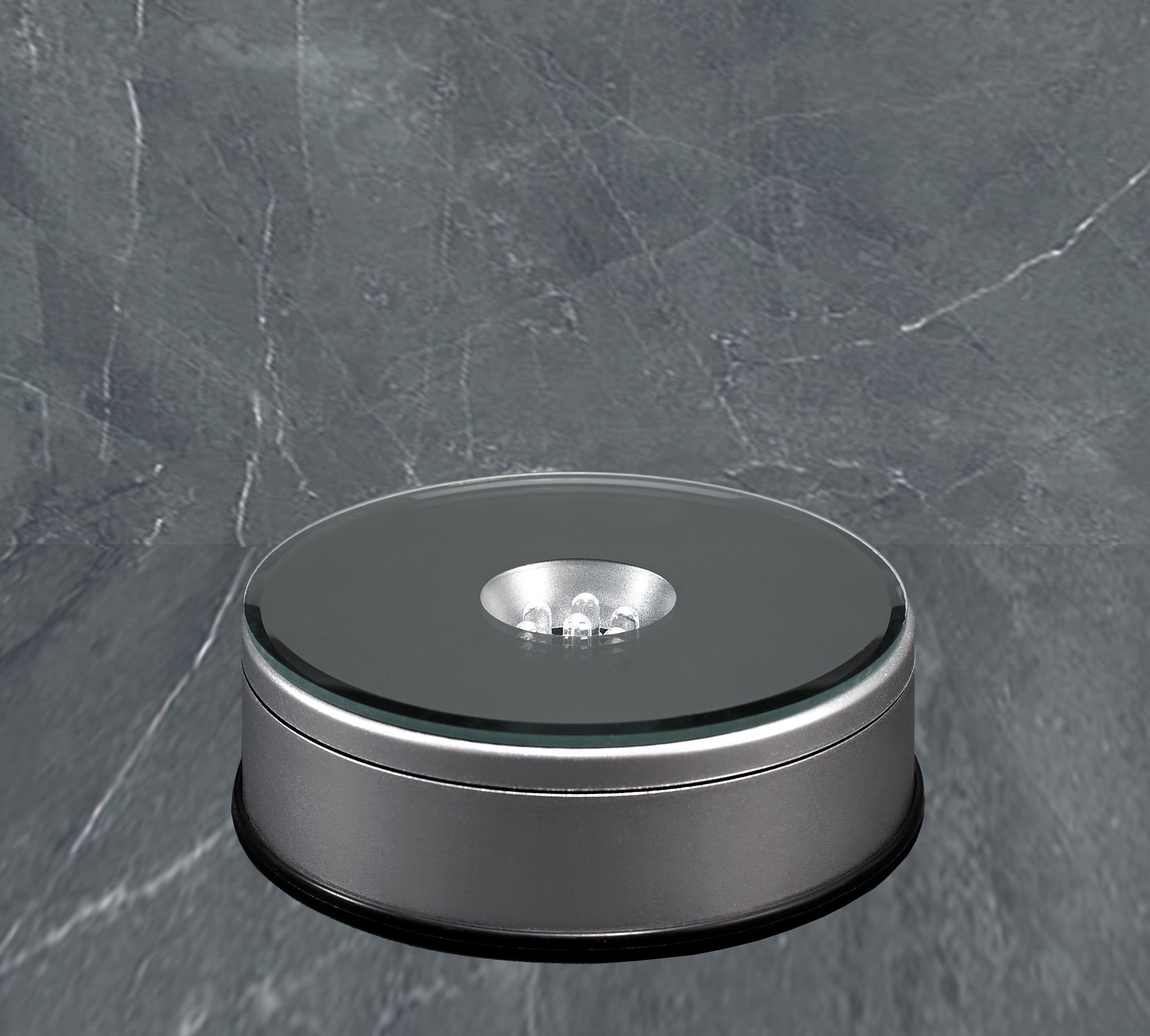 Medium Round Light Base (Rotating) - Silver Finish