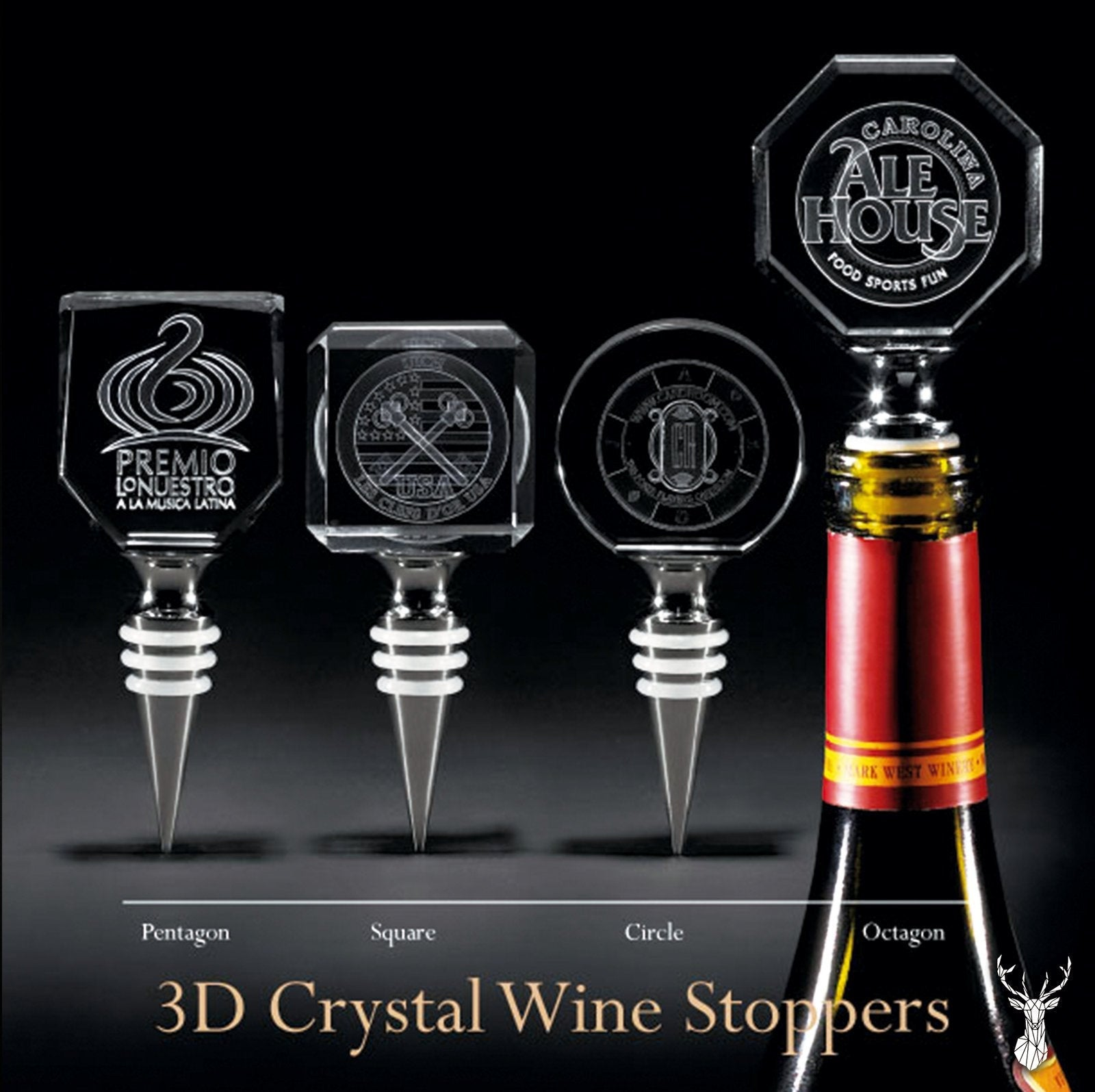 3D Square Crystal Wine stopper | Personalized Engraving.