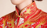Kwa Qun Embroider Dragon & Phoenix Brocade Chinese Wedding Gown Qipao - YannyExpress  - 11