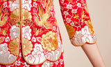Kwa Qun Embroider Dragon & Phoenix Brocade Chinese Wedding Gown Qipao - YannyExpress  - 12