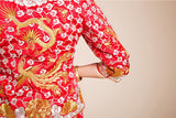 Kwa Qun Embroider Dragon & Phoenix Brocade Chinese Wedding Gown Qipao - YannyExpress  - 14