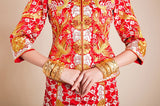 Kwa Qun Embroider Dragon & Phoenix Brocade Chinese Wedding Gown Qipao - YannyExpress  - 15