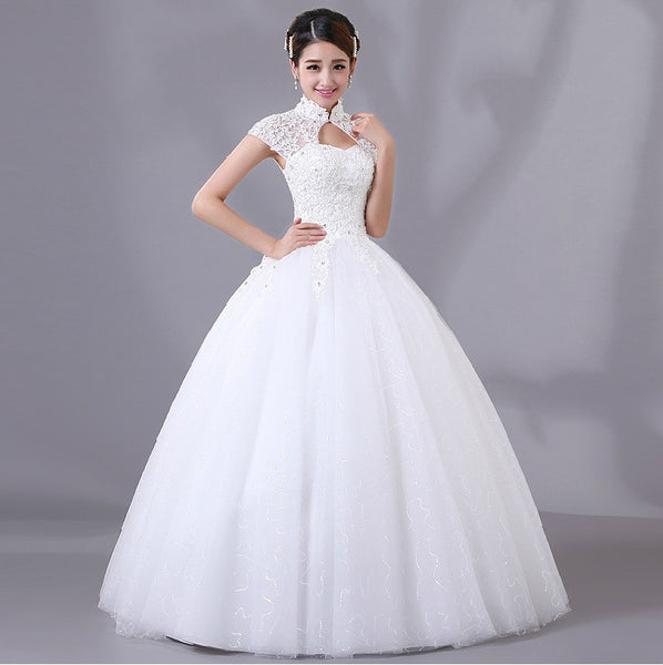 Chinese wedding white gown mandarin collar bridal dress for Wedding dress with collar