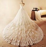 Ivory Modest French Lace Handmade A line Princess Wedding Gown - YannyExpress  - 6